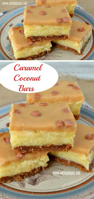 Divine ! Quick, easy and a never fail recipe for these Caramel Coconut Bars