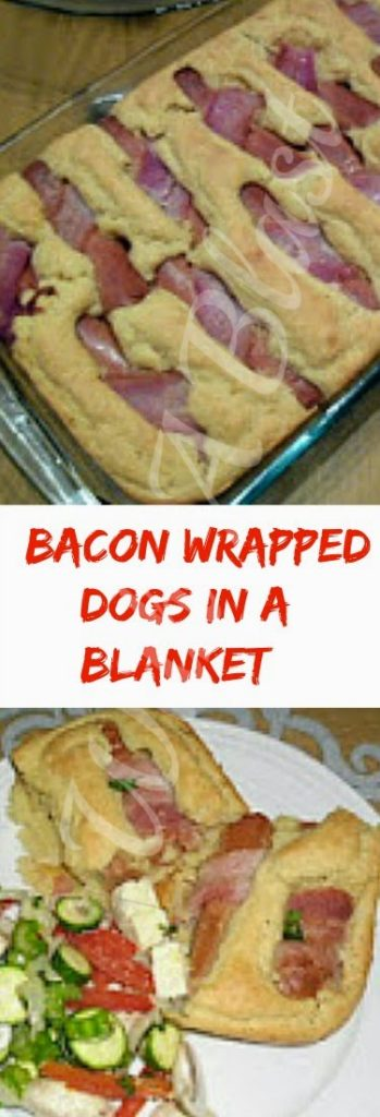 Bacon Wrapped Dogs In A Blanket ~ Forget the rolls and serve Bacon wrapped hotdogs this way for dinner or lunch #Dinner #HotDogs