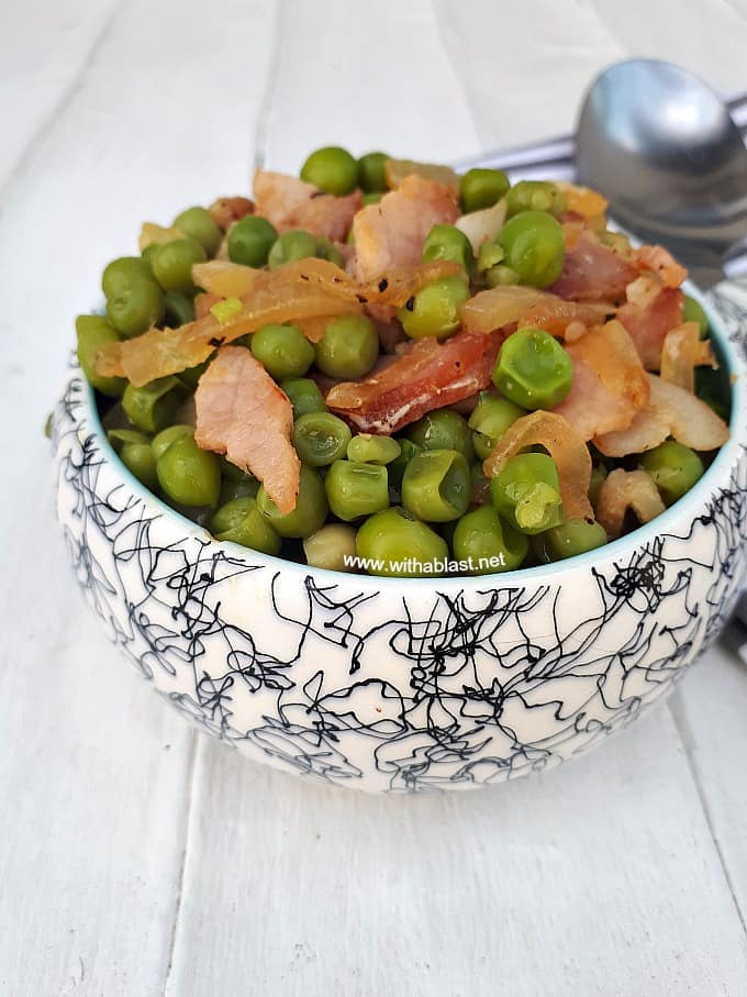 Bacon Peas is simply the BEST side dish and kids love this ~ even the pickiest of them all !