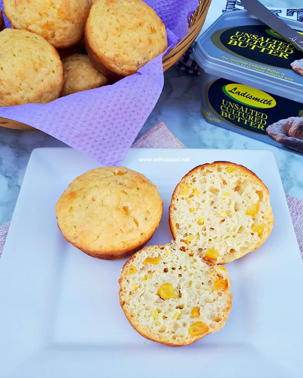 Sweetcorn Muffins are soft, fluffy and quick enough to make (all standard pantry ingredients) as an addition to breakfast or serve as a snack