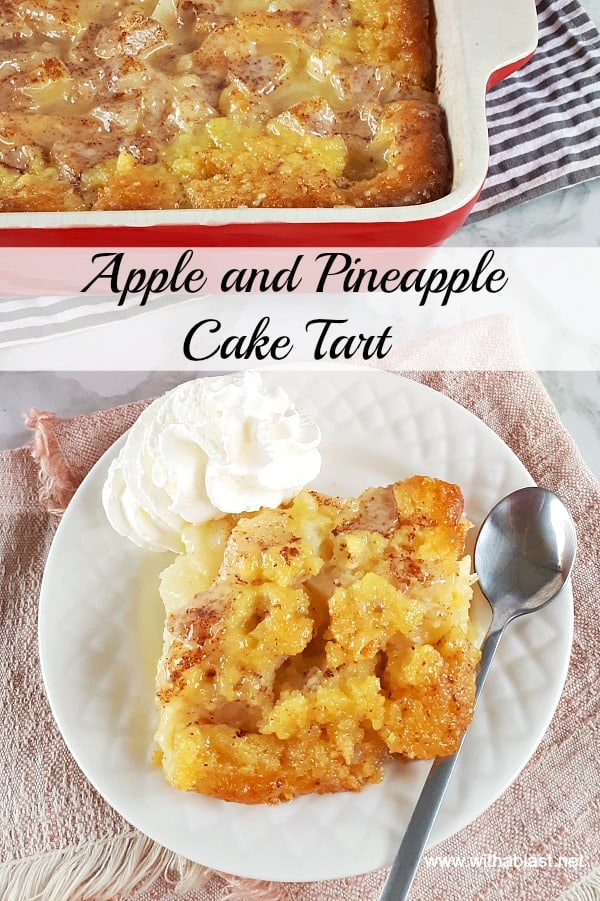 This is the best Apple and Pineapple Cake Tart around ! Perfect Fall, Thanksgiving dessert and so easy to make too #AppleTart #ApplePie #AppleRecipe #ThanksgivingPie #ThanksgivingRecipes #AppleCakeRecipe