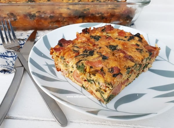 Bacon, Cheese, Sausage and Spinach in this easy Quiche