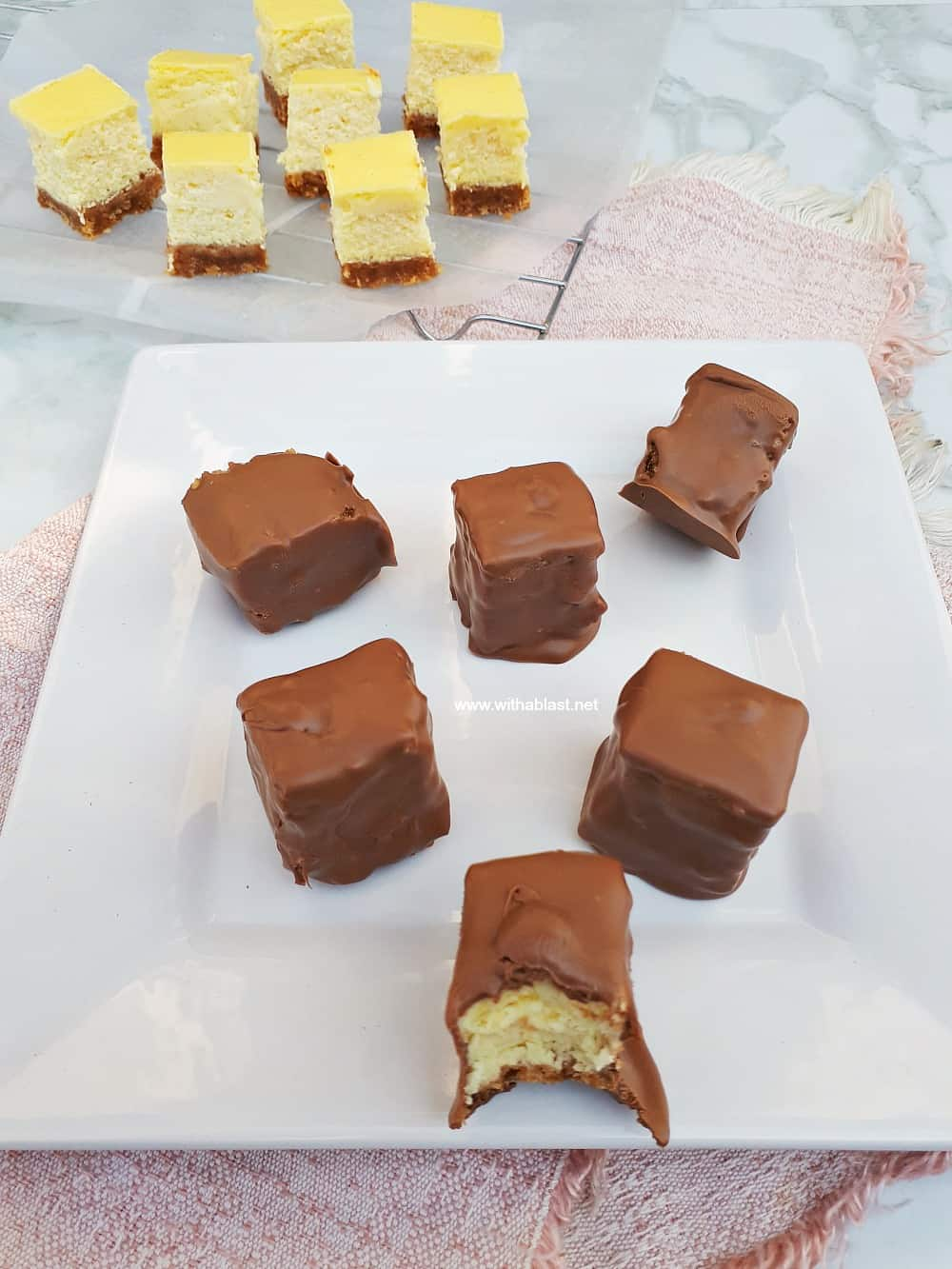 Cheesecake Bites Covered In Chocolate