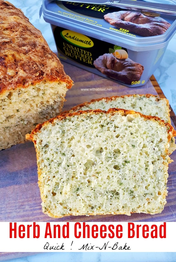 Herb And Cheese Bread (Mix-N-Bake) is soft and fluffy. The perfect bread to serve with soup as well as with any sandwich savory fillings #HerbBread #QuickBread #CheeseBread