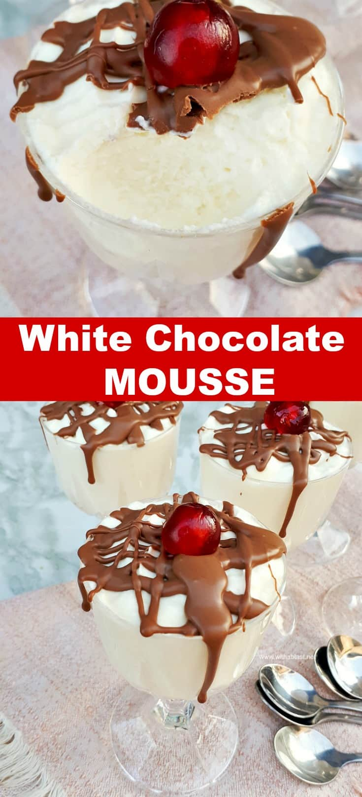 White Chocolate Mousse is so quick and easy to make [make ahead friendly recipe] #ChocolateMousse #Mousse #DecadentDessert