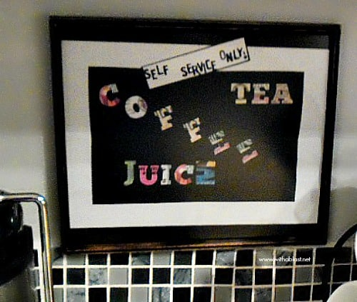 An easy and quick Self Service Sign to make yourself, which will add a bit of color (and humor?) to a boring coffee or drink station