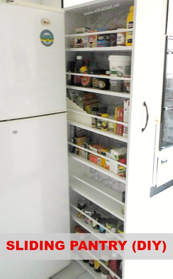 Sliding Pantry (DIY) is an easy Kitchen project (also suitable to add storage in the bathroom) #DIY #Kitchen #HomeImprovements #SlidingPantry #DIYPantry #PullOutPantry
