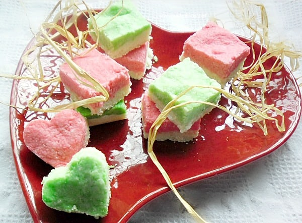 Homemade Coconut Ice recipe - plain and mint favored recipe - Make this popular candy at home without all the preservatives