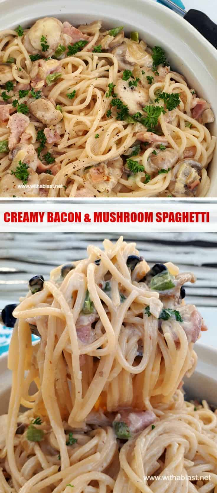 20 Minutes is all you need to get this Creamy Bacon and Mushroom Pasta on the table ! Recipe yield 8 adult sized servings [can easily be halved/doubled] #PastaRecipes #PastaDinner #BaconPasta #CreamyPastaDinner #ComfortFood
