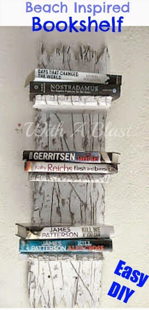 "Beach Inspired Bookshelf ~ Easy DIY ~ Fits in with all ""beach themed"" rooms ! #Bookshelf #BeachThemed"