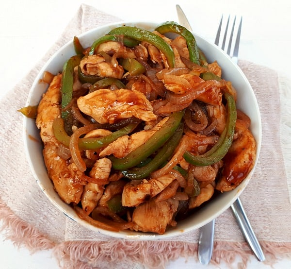 Almost Chinese Chicken takes only 25 Minutes - Prep to Serve ! Quick, delicious, sweet and sour chicken dinner which can be served over rice or noodles