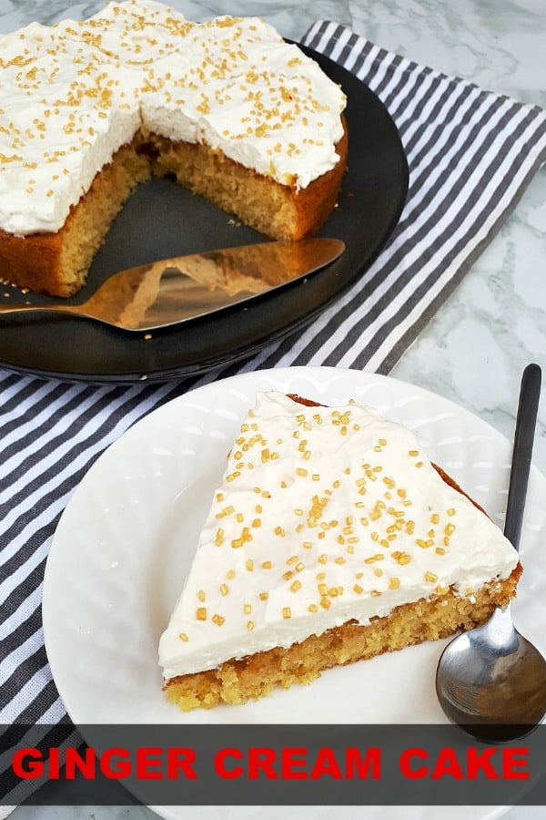 So quick and easy to make ! Ginger Cream Cake is moist and topped with simple Vanilla whipped cream  #HolidayBaking #GingerCake #MoistGingerCake #EasyCakeRecipes #CakeRecipes