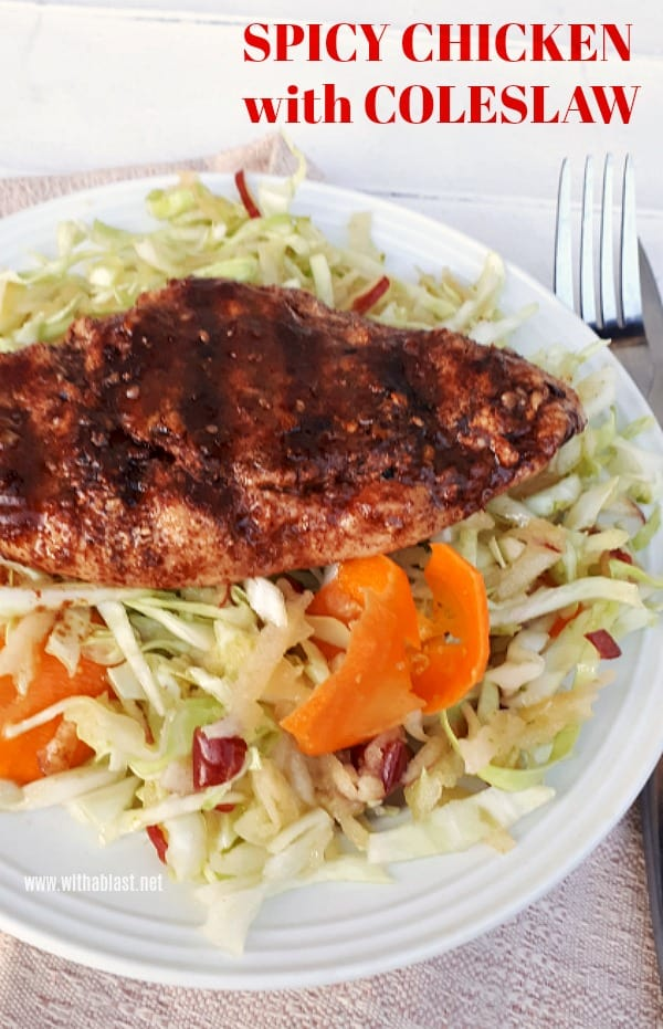 Low-Carb, Healthy Spicy Chicken with Apple Coleslaw- Perfect for lunch or dinner [ Quick and easy recipe ]