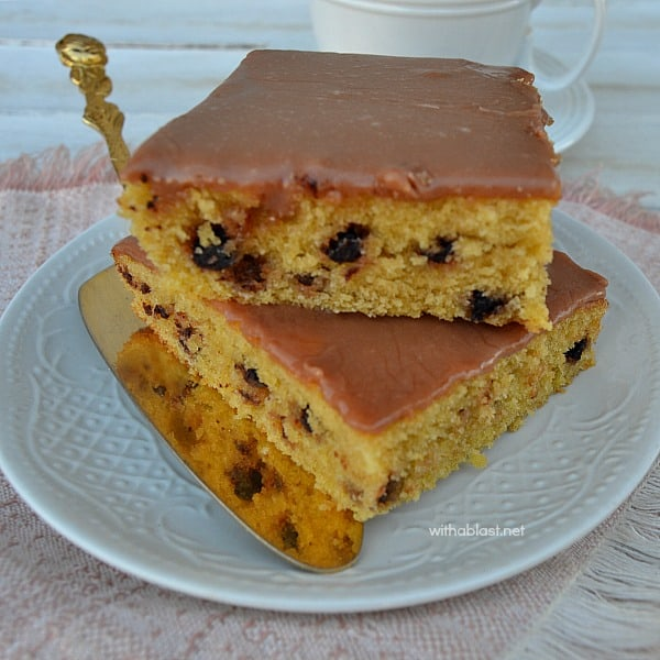 Espresso and Chocolate Chip Slices [sheet pan recipe] are delicious, especially with a cup of freshly brewed coffee - at teatime or for dessert - Quick, easy recipe.