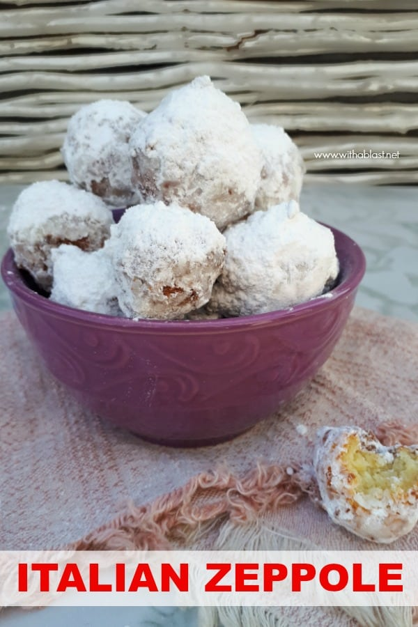 Italian Zeppole is the most delicious sweet treats ! Deep-fried dough, almost like a beignet but much chewier and more dense - more of a Ricotta donut #ZeppoleRecipe #ItalianZeppole #FriedDelicacies #DessertRecipes #SweetTreatRecipes