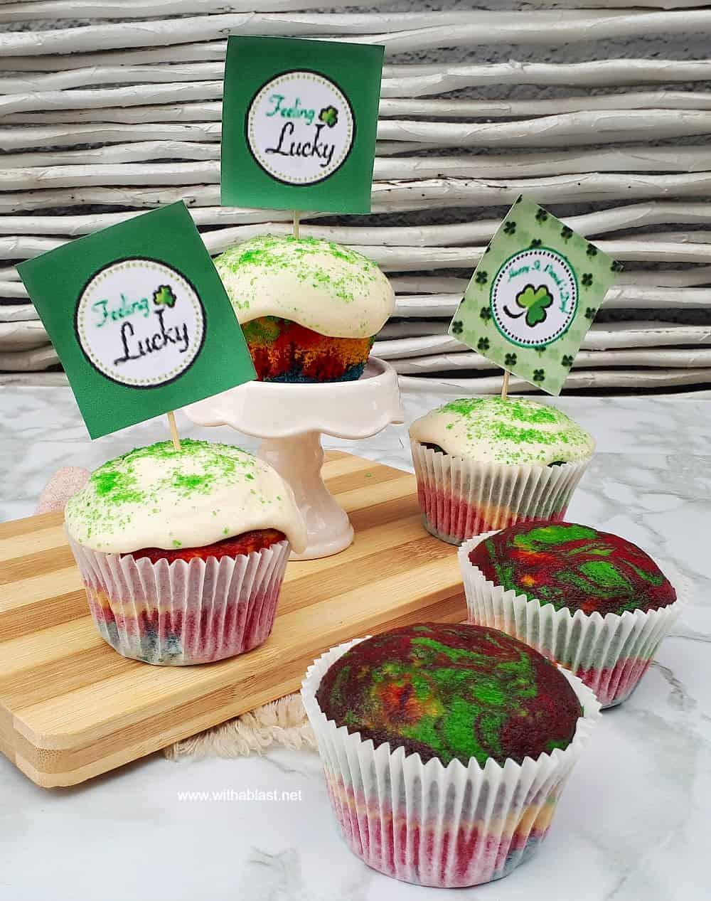 Irish Cream Rainbow Cupcakes