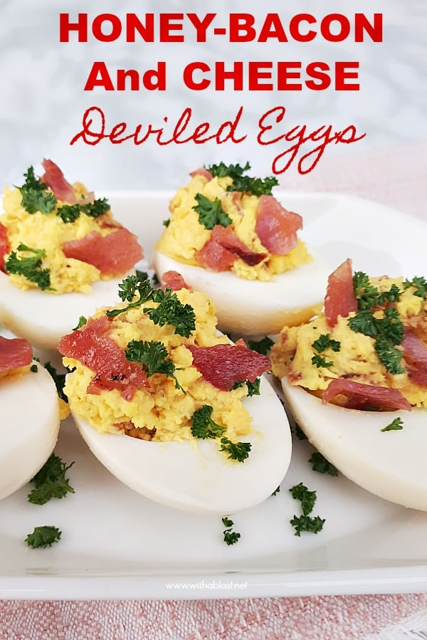 These Honey-Bacon and Cheese Deviled Eggs with a salty-sweet taste are made in a flash and a must have snack for savory platters - parties, Game day etc #DeviledEggsRecipe #HoneyBaconEggs #SnackRecipes #AppetizerRecipes #FestiveSeason