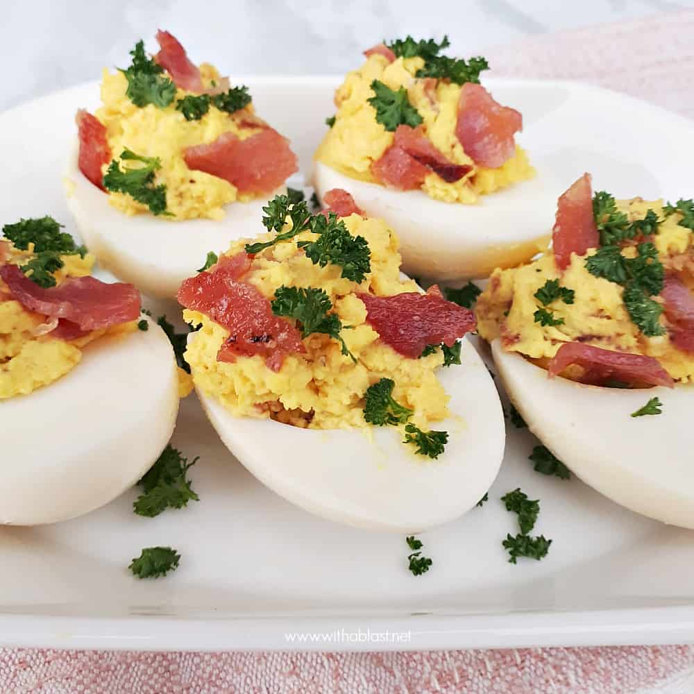 These Honey-Bacon and Cheese Deviled Eggs with a salty-sweet taste are made in a flash and a must have snack for savory platters - parties, Game day etc
