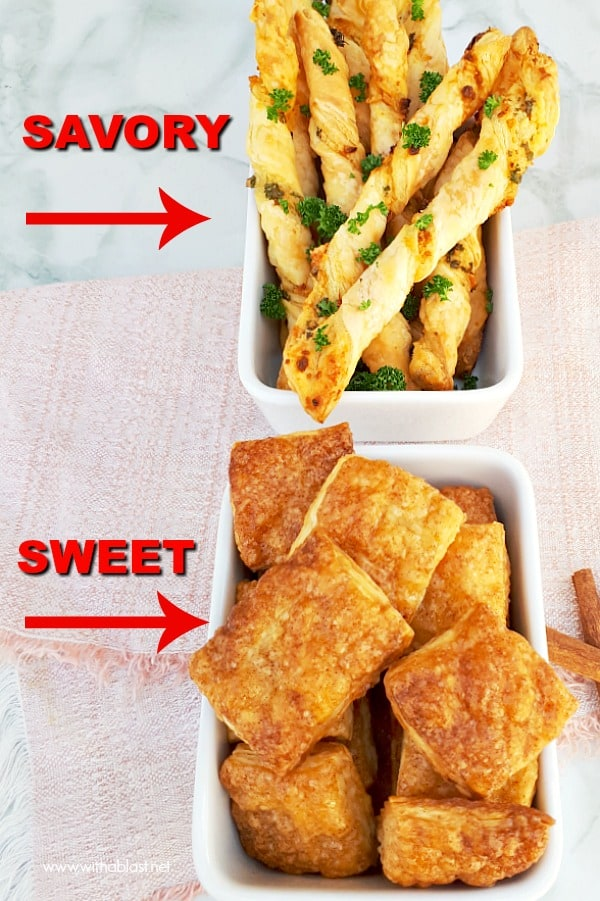Parmesan and garlic Straws AND Cinnamon Sugar Bites - 2 Ideas for Leftover Puff-Pastry