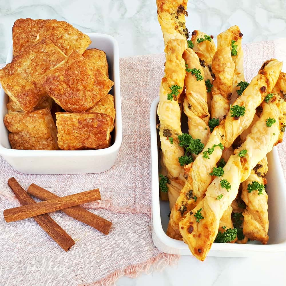 Cinnamon Sugar Bites AND Parmesan Garlic Straws