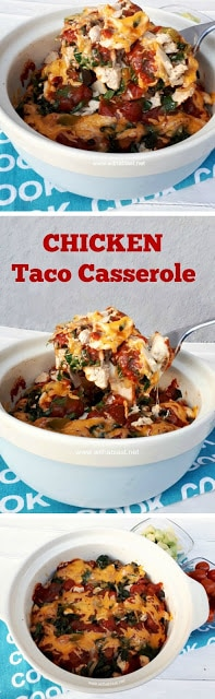 Layers of cheesy comfort food ! The spinach makes this Chicken Taco Casserole and even non-spinach eaters loves it