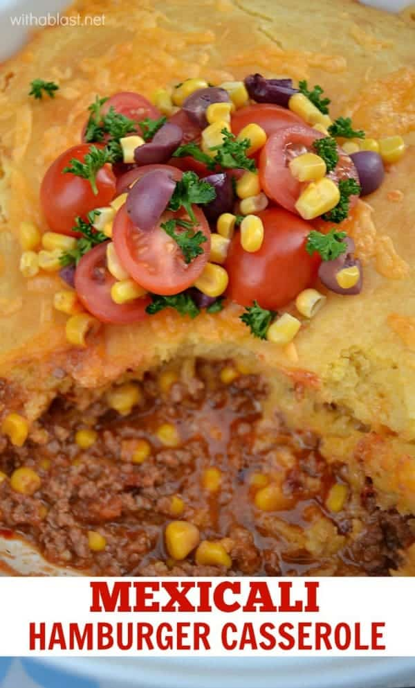 Mouthwatering Mexicali Hamburger Casserole with a cornbread topping