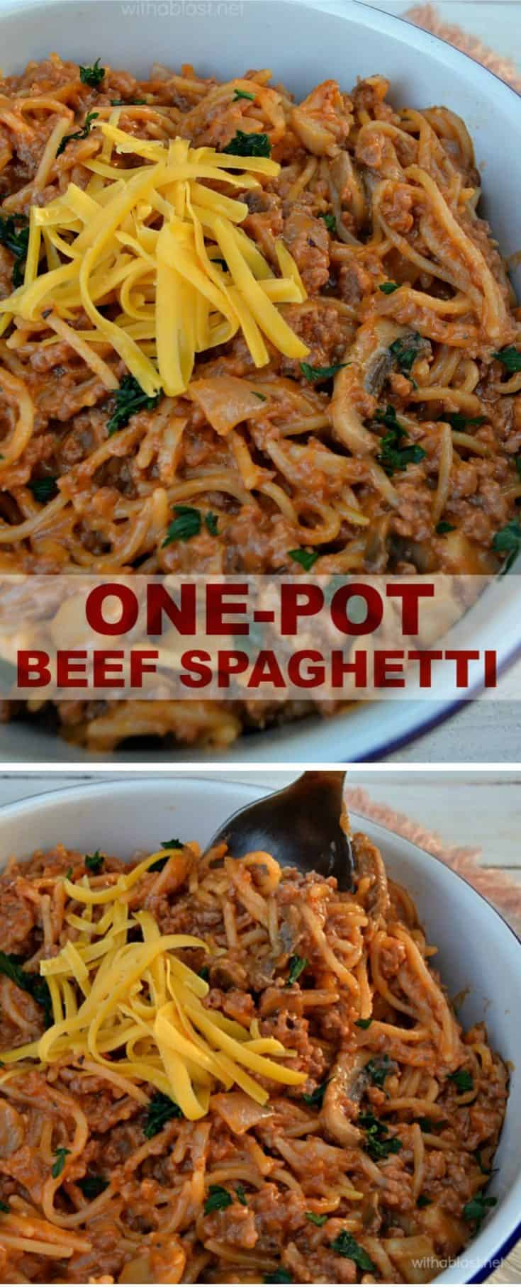 One-Pot Beef Spaghetti is ready in under 25 minutes - a creamy tomato dinner dish with ground beef, vegetables and perfectly spiced !  #OnePotDinner #SpaghettiDinner #GroundBeefRecipes #ComfortFood