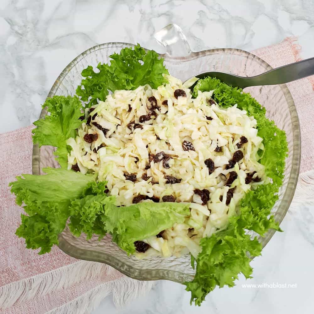 Simple, yet delicious, Cabbage and Onion Salad with raisins is the ideal addition to most main meals and especially good served with barbecued meat