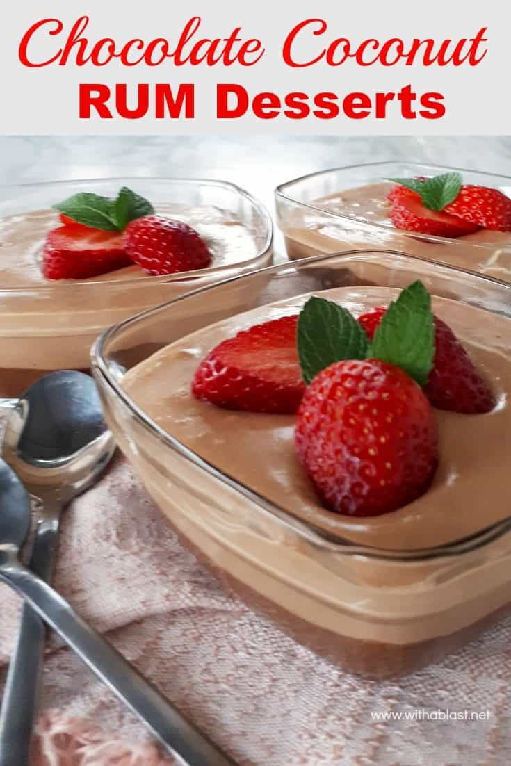 Chocolate Coconut Rum Desserts have a slightly chewy bottom layer with a smooth, creamy top layer and a hint of Rum throughout the dessert #BoozyDessert #ChocolateDessert #EasyChocolateDessert #DessertWithRum #QuickDessertRecipes #DivineDesserts