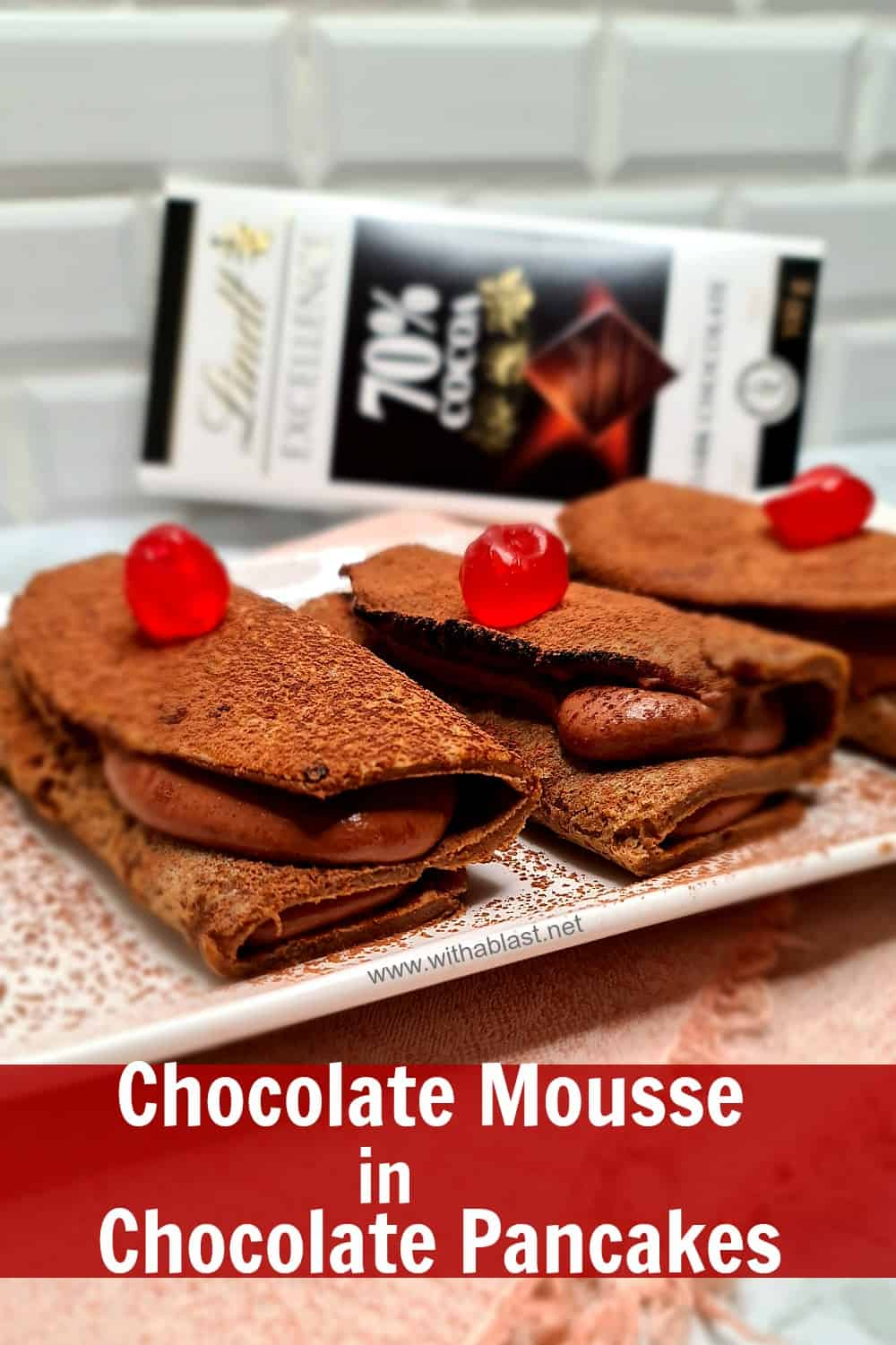 Chocolate Mousse in Chocolate Pancakes
