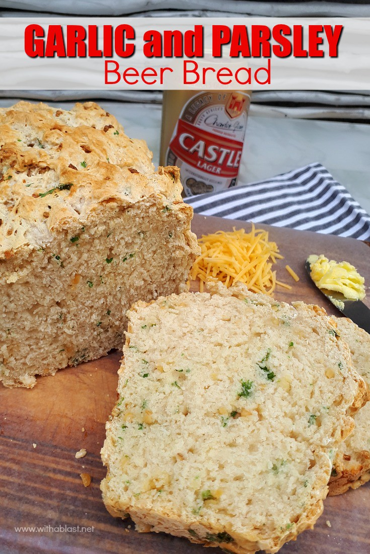 Tasty, quick and easy, mix and bake recipe for a Garlic and Parsley Beer Bread to serve as a side instead of dinner rolls or as a snack #BeerBread #GarlicBread #BreadRecipes #QuickBread #SavoryBread #MixAndBakeBread #NoKneadBread #NoYeastBread