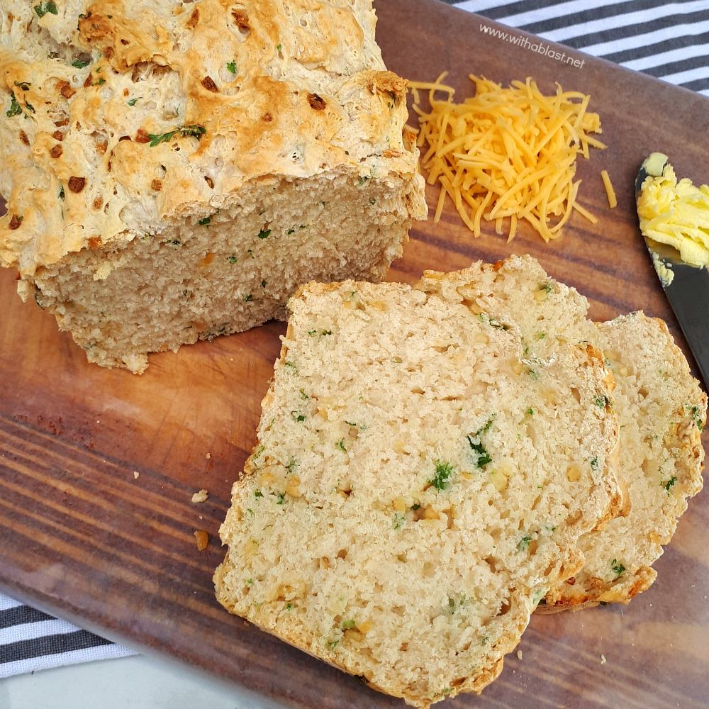 Tasty, quick and easy, mix and bake recipe for a Garlic and Parsley Beer Bread to serve as a side instead of dinner rolls or as a snack