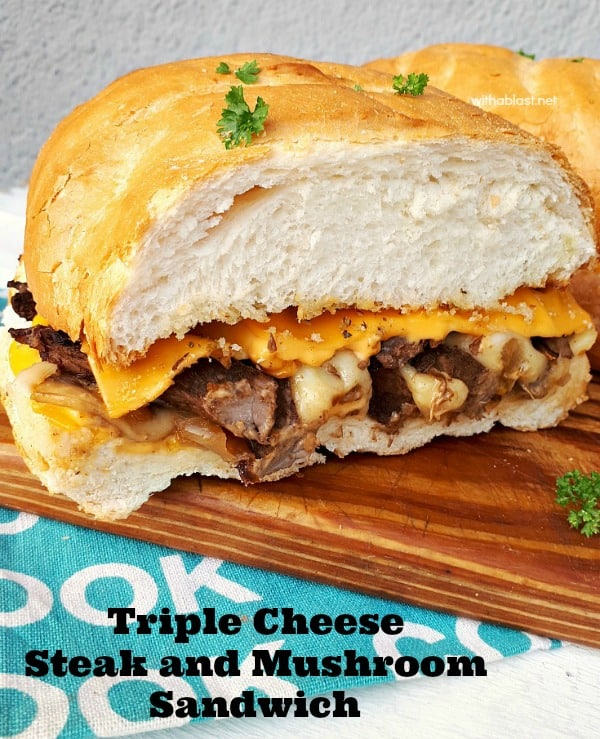 Triple Cheese Steak And Mushroom Sandwich