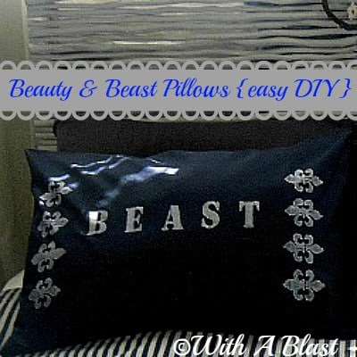 eauty and Beast Pillows (Easy DIY}) #diy #crafts #fabricpainting #painting #stencil