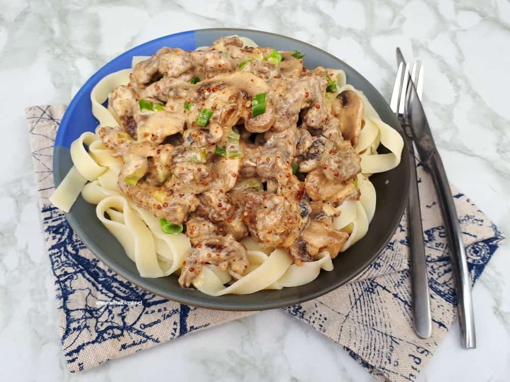 Beef Stroganoff with Wholegrain Mustard is a delicious alternative to the usual Stroganoff - made with all pantry ingredients within 15-20 minutes
