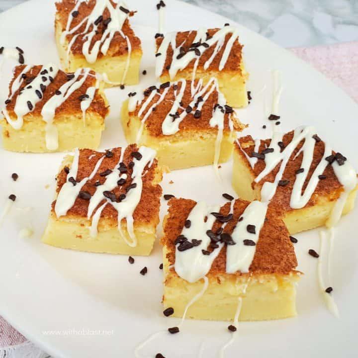 Chocolate Drizzled Milk Tart Squares