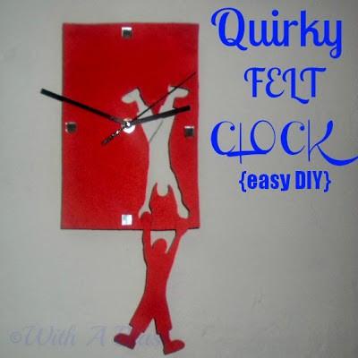 With A Blast: Quirky Felt Clock  {easy DIY}  #crafts #felt  #quirky #fun