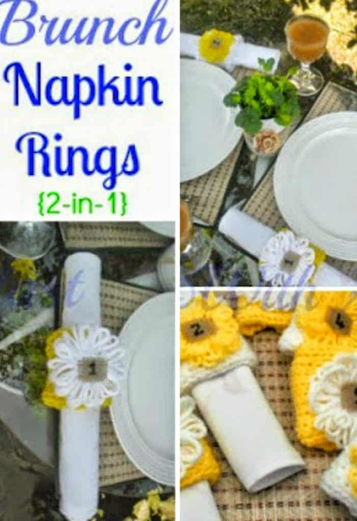 Brunch Napkin Rings {2-in-1} ~ How to easily make these 2-in-1 Napkin Rings/Placecards ~~ No need to know ANYTHING about knitting ! #loom #napkinrings #placecards #woolcrafts