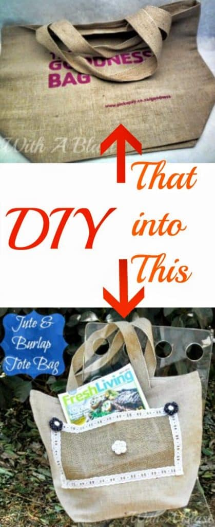 Jute and Burlap Bag ~ Quick & Easily transform a store-bag into a new Tote Bag #Upcycling #ToteBag #Burlap
