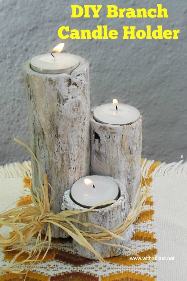 Branch Candle Holder is so lovely, especially as part of your Fall decor, and so easy and fun to make your own. Use separately, tied together or as a centerpiece #DIY #Rustic #CandleHolder #TeaLightHolder #FallDecor