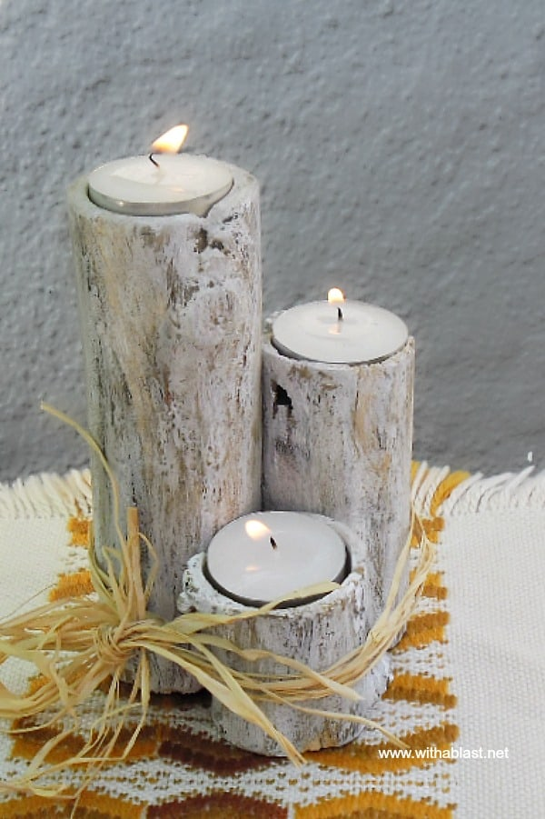 Branch Candle Holder is so lovely, especially as part of your Fall decor, and so easy and fun to make your own. Use separately, tied together or as a centerpiece