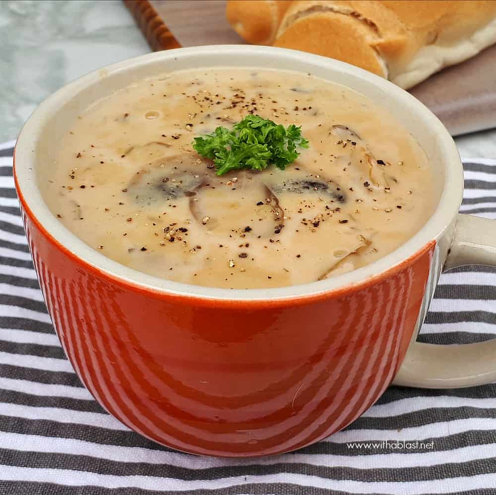 Creamy Mushroom Soup is a quick, homemade, comforting soup recipe which uses all standard pantry ingredients - filling and delicious !