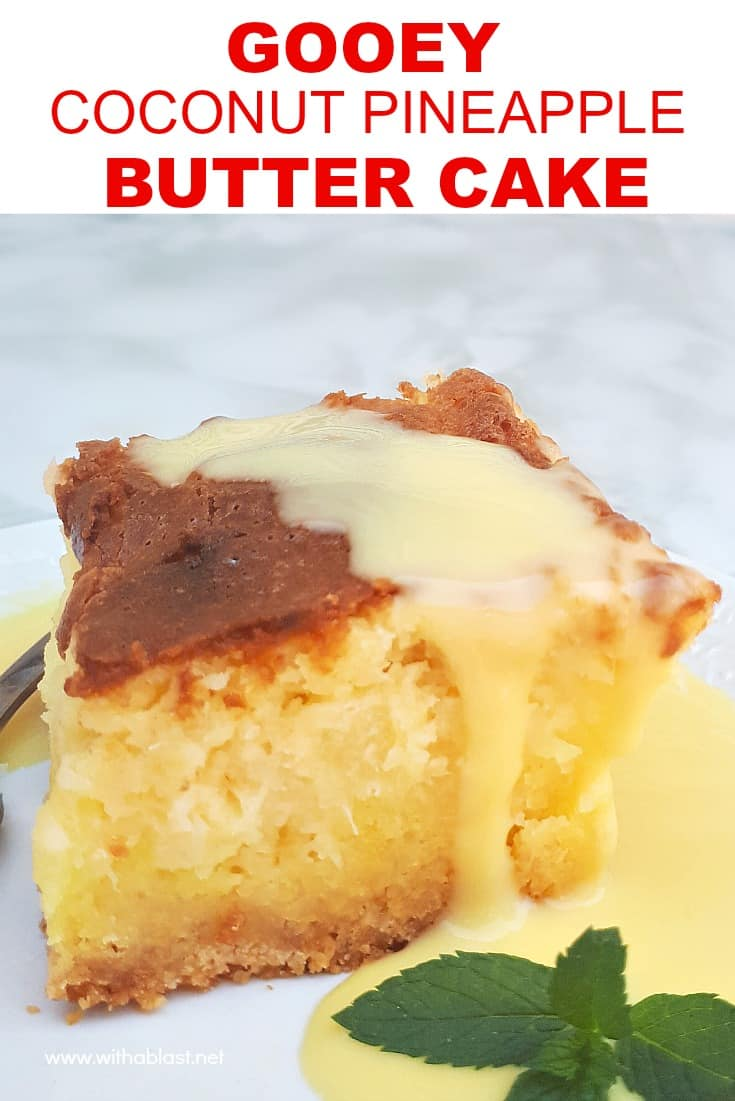 Gooey Coconut Pineapple Butter Cake is a moist, delicious cake and no need for frosting. Easy cake starting with a cake mix and with cream cheese too! #CoconutCake #ButterCake #PineappleCake #PineappleAndCoconutCake #GooeyCakeRecipe #CakeRecipe #DecadentCakeRecipes