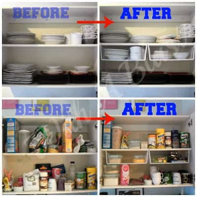 Kitchen Cabinets Organized ~ Organize your cabinets quickly & easily using one type of basket #Organizing #KitchenStorage #Storage