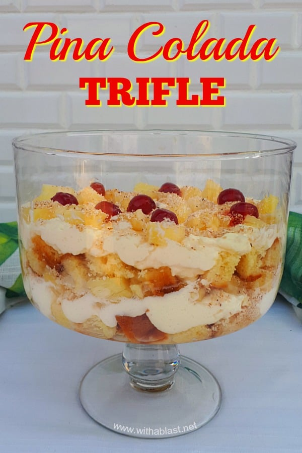 This Pina Colada Trifle can be made boozy or non-alcoholic and is an all seasons recipe. Perfect for potlucks, Sunday dessert or as a special week night dessert