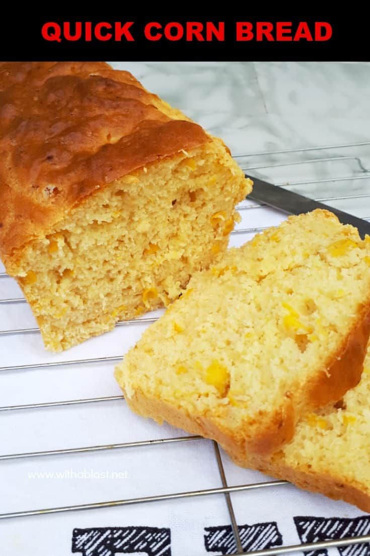This recipe for a Quick Corn Bread (with actual corn) is so simple - mix, bake and serve ! The bread makes the perfect side to a main meal, or enjoy as a snack #QuickBread #BreadRecipe #HomemadeBread #CornBread #SnackRecipe #SideRecipe