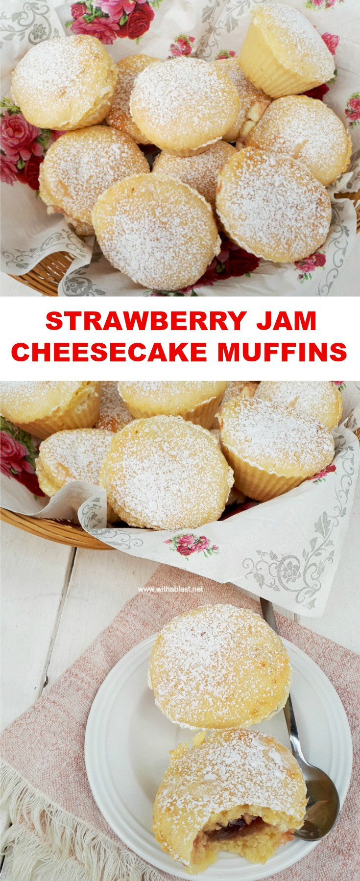 Strawberry Jam Cheesecake Muffins are a delicious addition to a tea time plate, breakfast and can even be served as a light dessert #MuffinRecipes #EasyStuffedMuffins #StrawberryMuffins