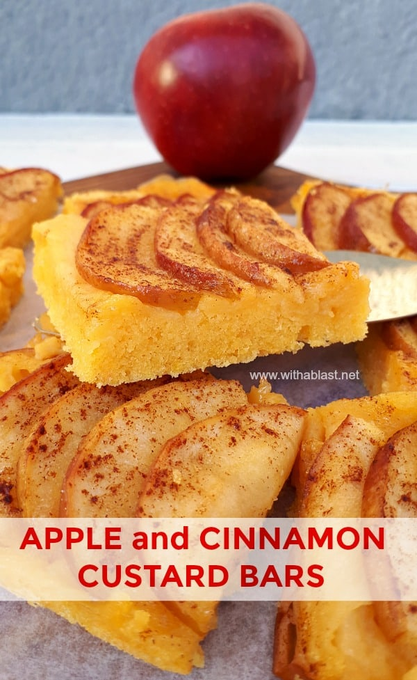 Apple and Cinnamon Bars - Soft Cake bottom, creamy Custard filling and Caramelized Apple topping baked all at once makes a delicious Fall dessert