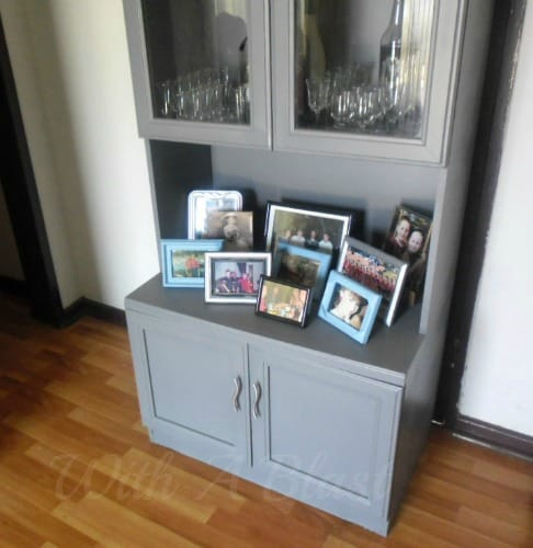 Hutch Makeover ~ DIY A Drab laminated hutch to a new Fab painted hutch ( and 1 or 2 other changes complete this piece } #FurniturePainting #LaminatePainting