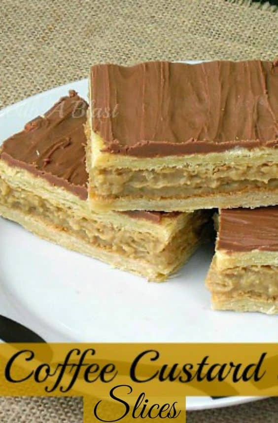 Coffee Custard Slices made using Puff Pastry ! Quickly and easily